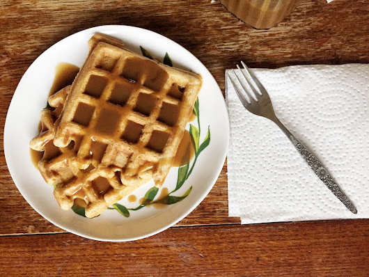 "Sweet Potato Waffles with ""Paleo"" Caramel Sauce"
