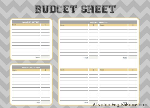 A Typical English Home College Binder Printables Budget And Finance
