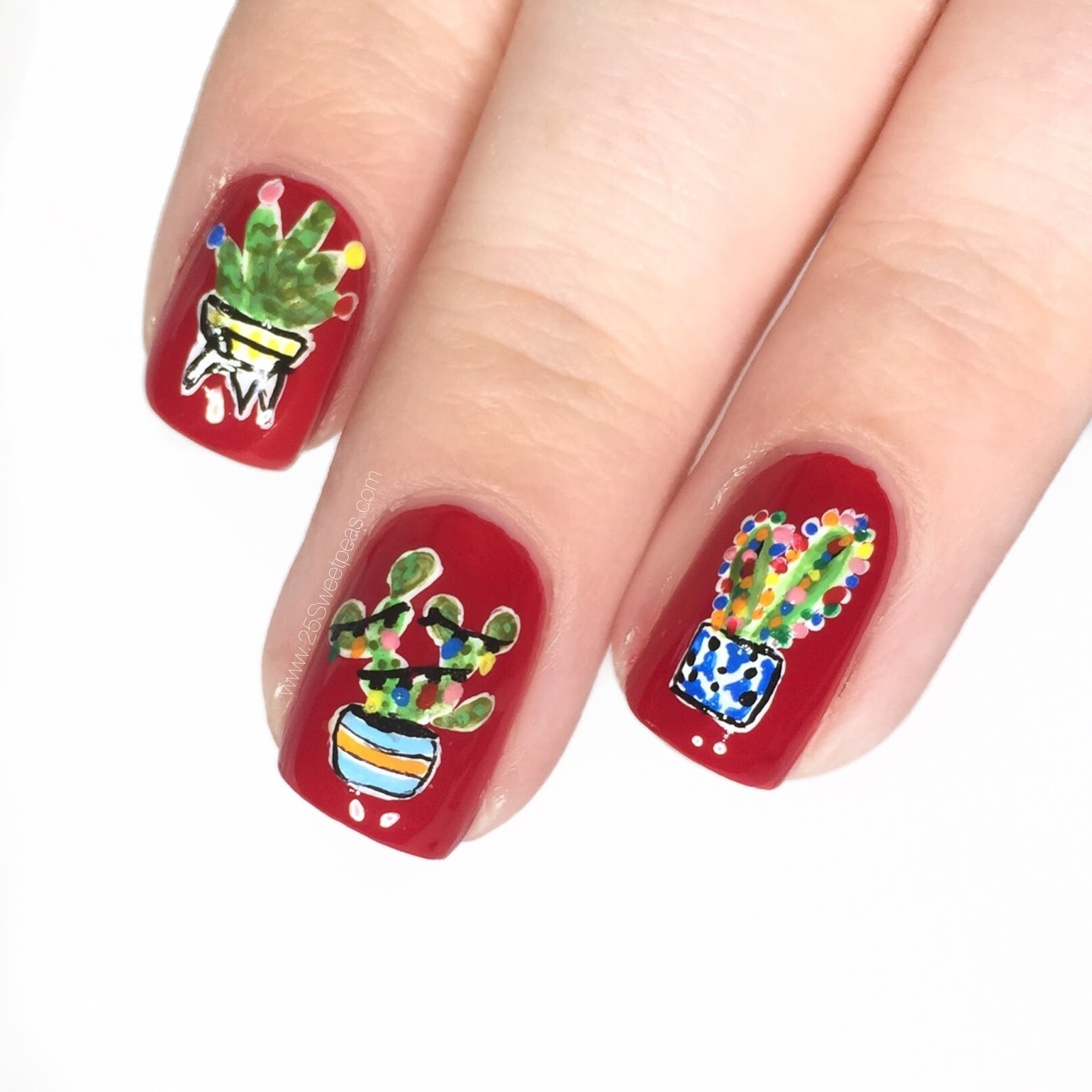 Christmas Cacti Nails