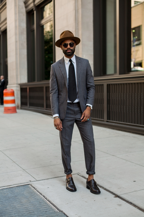 Mens street style new york men in suits single buckle dress shoes gray suit brown hat black mens fashion wide tie beard angel verde the stylepreneur 2016
