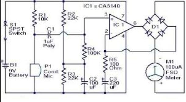wiring schematic diagram  sound pressure level meter