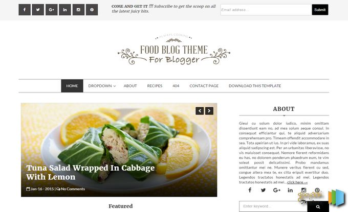 Food Blog Blogger Template Free