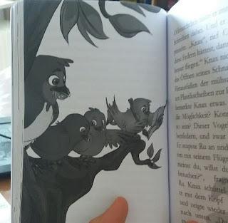 eine Illustration im Buch zeigt vier Schwalbenkinder