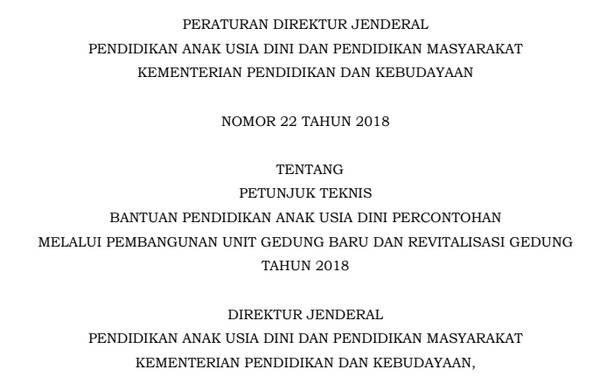 Juknis Bantuan Unit Gedung Baru (UGB) dan Revitalisasi Gedung PAUD 2018