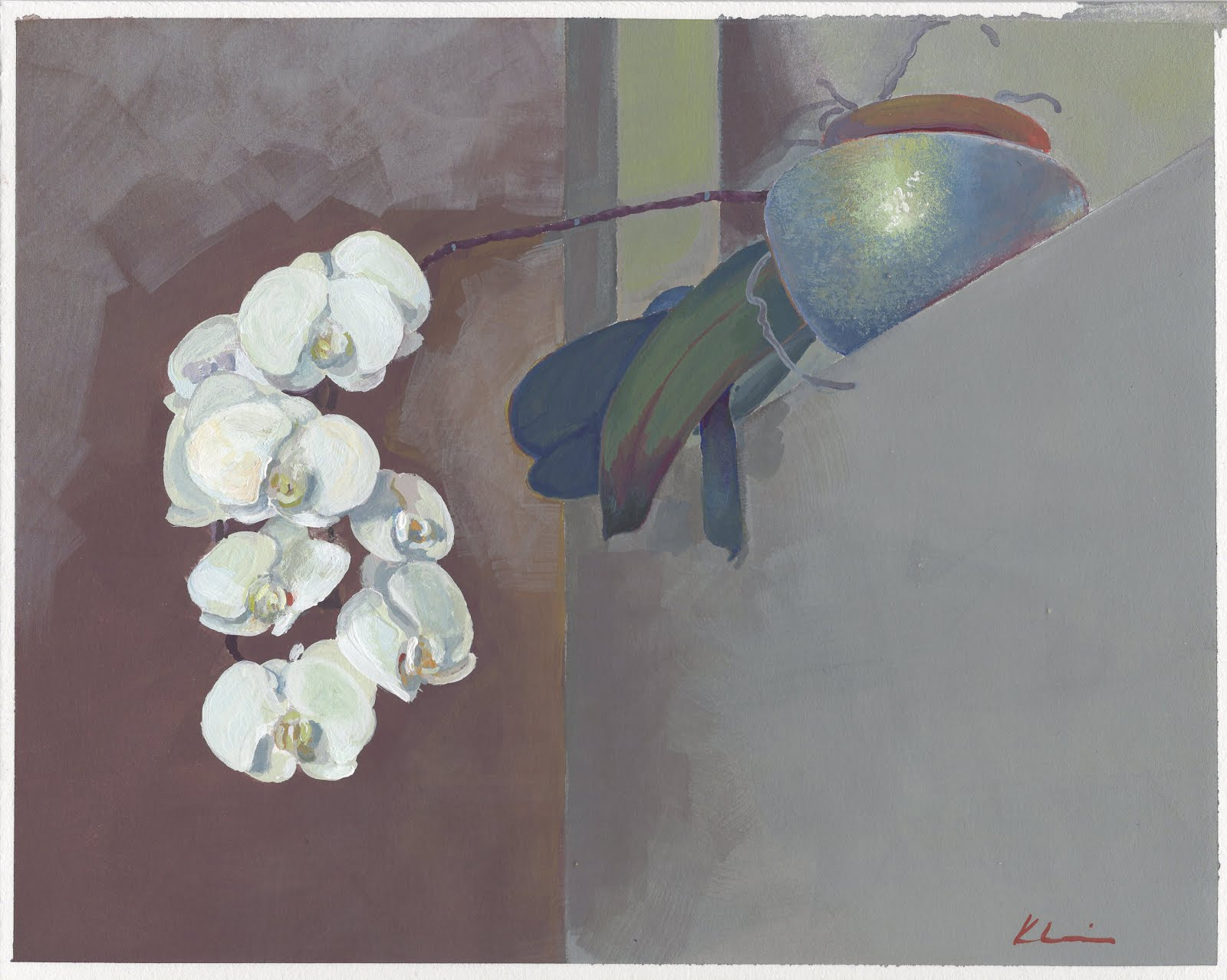 "ORCHID ON HIGH; casein; 8""x10""; 2017 Mary Nagel Klein"