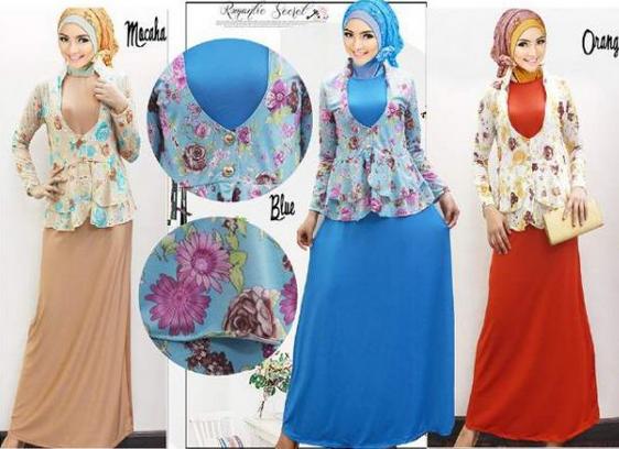 21 Koleksi Model Baju Muslim Lebaran Kombinasi Batik 2017