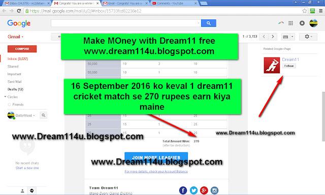 16 september 2016 ko keval 1 dream11 cricket maqtch se 270 rupees earn kiya-see screenshot