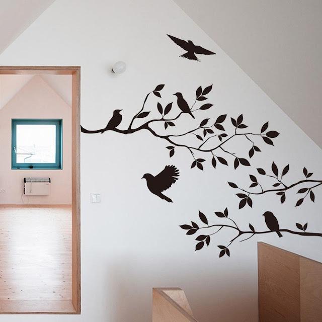 Koolee Tree Bird Wall Sticker Black DIY Household Wall Decal