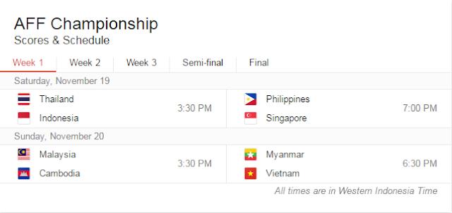 Ini Dia Jadwal Lengkap Pertandingan Timnas Indonesia Di Piala AFF 2016