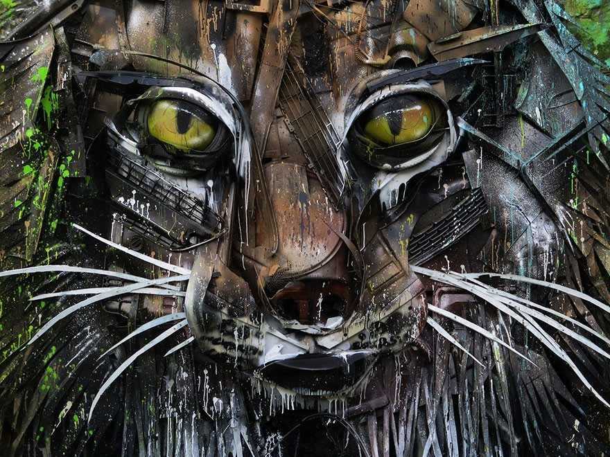 Lynx - Seni Lukisan Binatang Menakjubkan Dan Kreatif Dari Bahan Sampah