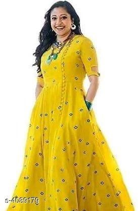 Stylish Women's Rayon Long Gown Kurti Kurti
