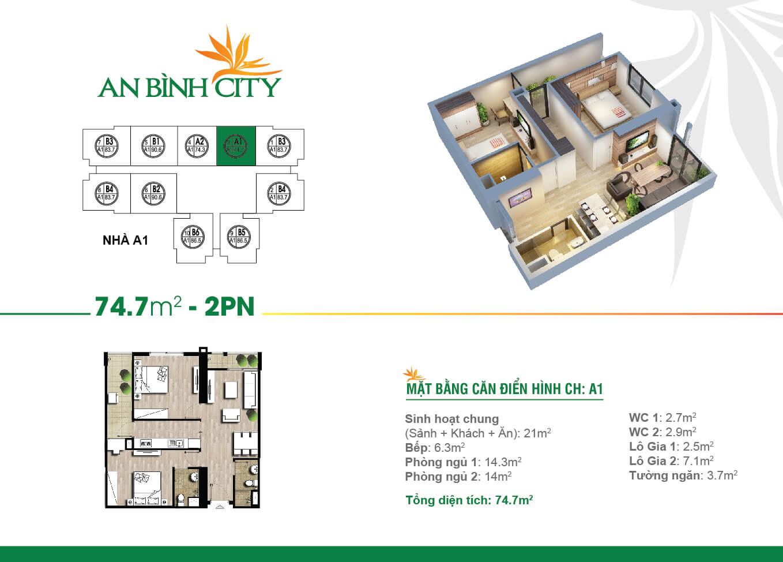 Thiết kế mặt bằng căn hộ 74,7 m2 - An Bình City