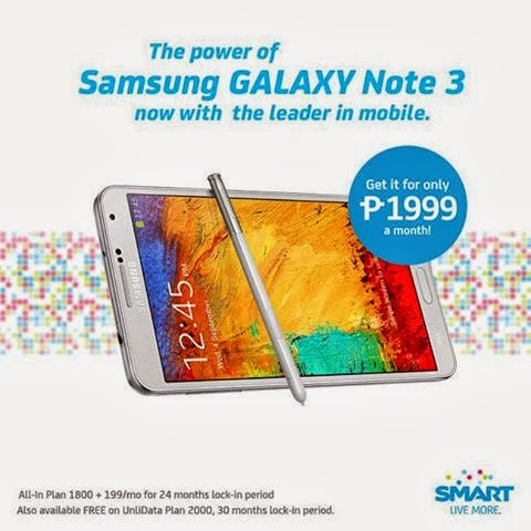 Smart added Samsung Galaxy Note 3 with LTE on their Postpaid Plan 2000