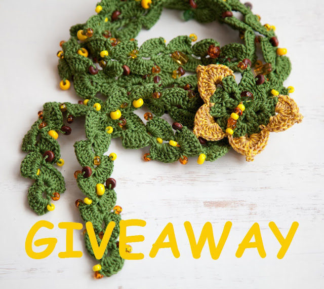 Giveaway- Crochet Lariat with Butterfly Brooch