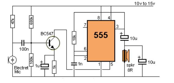 الدائرة الالكترونية مكبر صوت بالتايمر 555