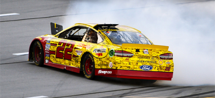 Logano Takes His Shell-Pennzoil Ford to Victory Lane #NASCAR