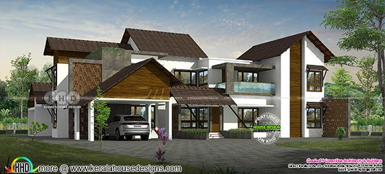 Mixed roof 5200 square feet luxury house rendering