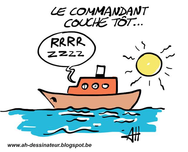 Dessin d'humour, Le commandant Cousteau, bateau
