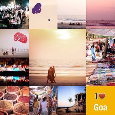 Indivuen kuvakollaasissa Goan maisemia