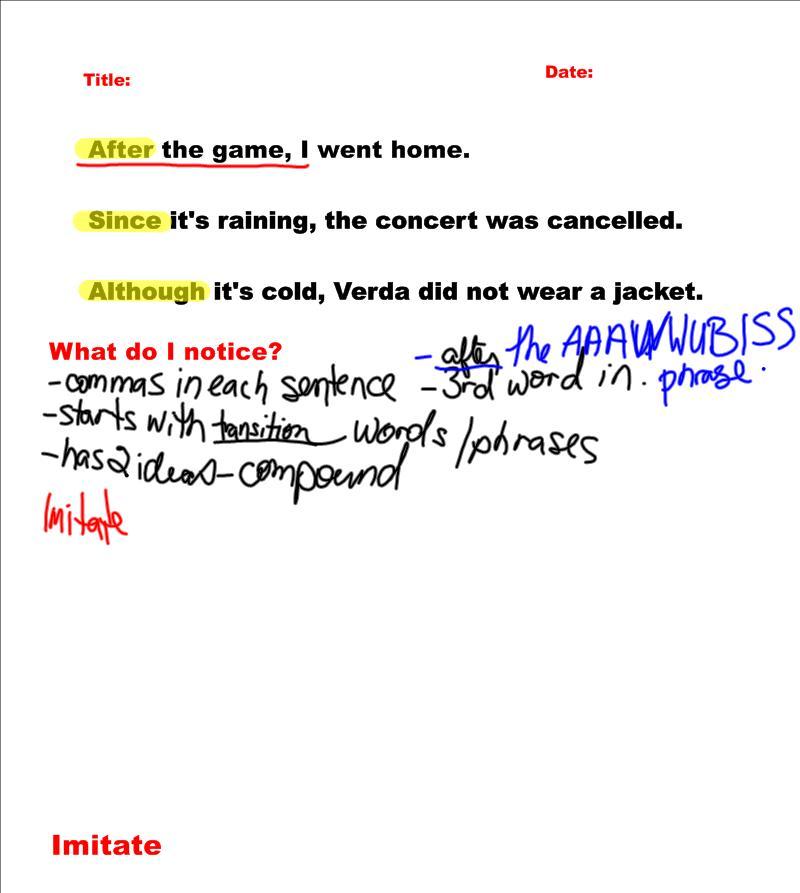 Fraser Eight: Sentence of the Weeeeeek Notes and Homework