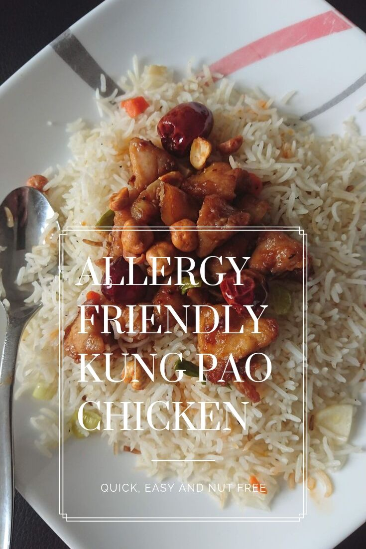 pinning image for Kung Pao Chicken with Roasted Chickpeas