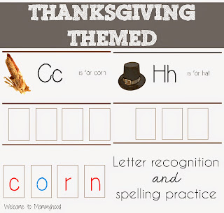 Thanksgiving Activities: Preschool Spelling and Letter Recognition Practice { Welcome to Mommyhood } #thanksgivingactivities