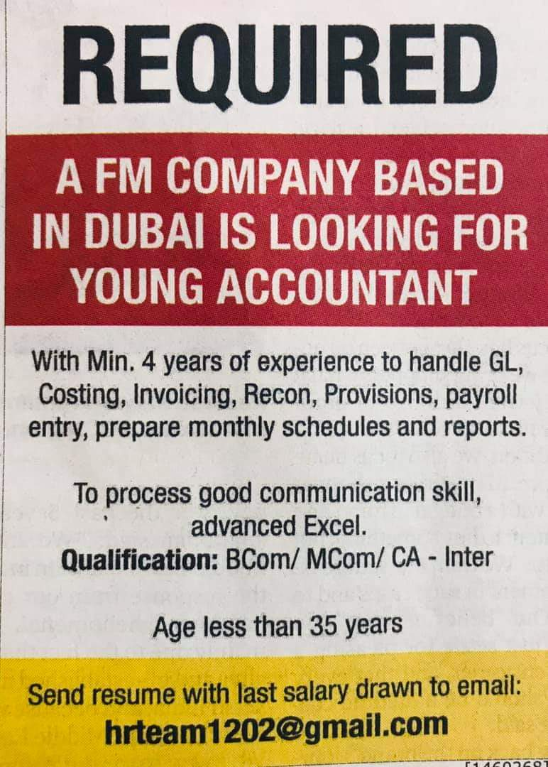 Required A FM Company Based in Dubai is Looking for