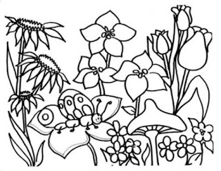 Flower With Butterfly Coloring Pages Animals For Kids Download