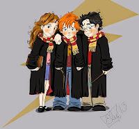 Resultado de imagen de harry ron y hermione dibujo