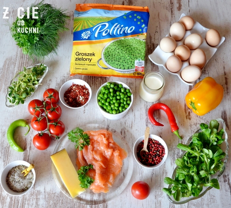 jak zrobic omlet, omlet, omlet z zielonym groszkiem, poltino, skladniki na omlet