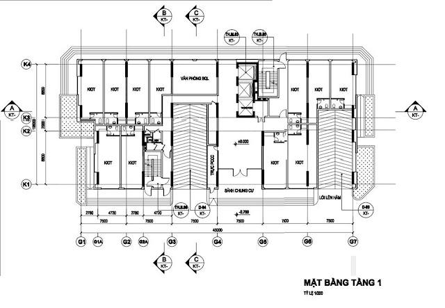 Mặt bằng kiot tòa HH03C chung cư B1.3 Thanh Hà