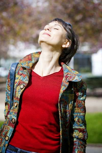 Woman soaking up vitamin D from the sun