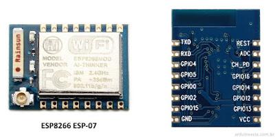 ESP8266 ESP-07 Frente e Verso