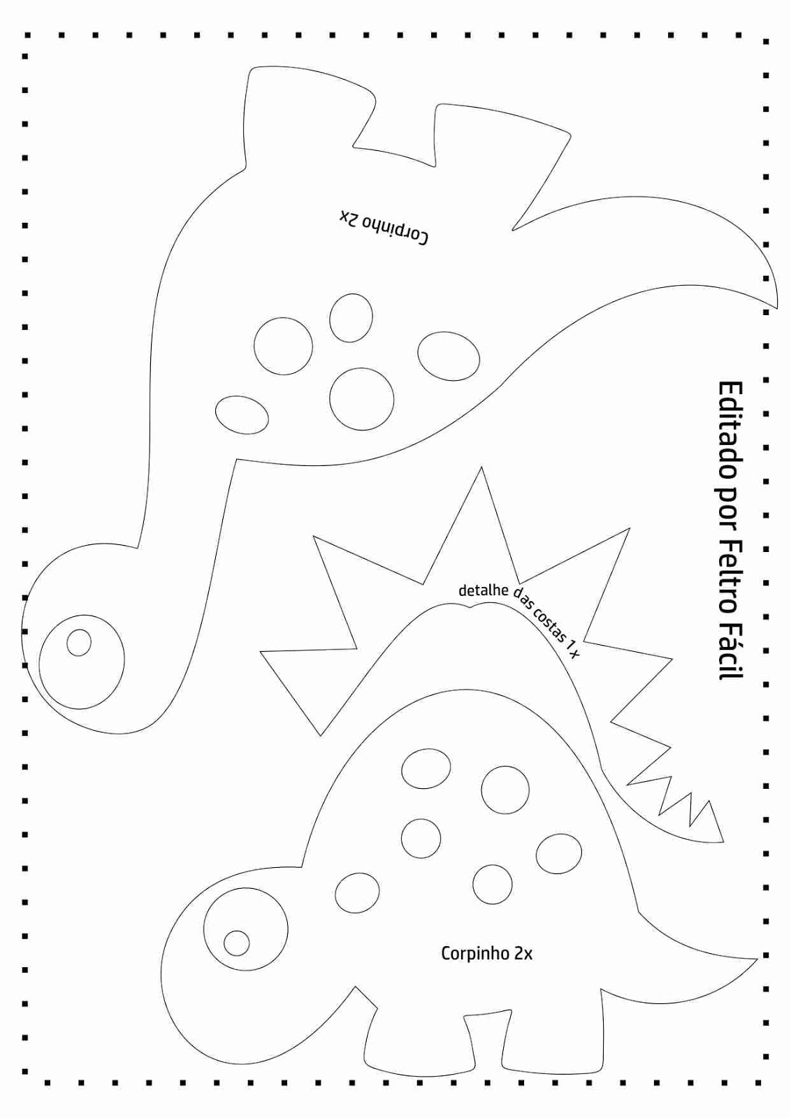 Famosos Feltro Fácil Moldes e Apostilas: Molde de Dinossauros em Feltro! UJ15