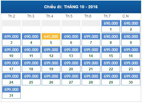 bảng giá vé máy bay sài gòn đi hà nội tháng 10/2016