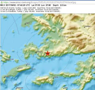Ισχυρός μετασεισμός 5,1 Ρίχτερ έγινε στις 10:42 το πρωί σε θαλάσσια περιοχή ανάμεσα στην Κω και τα τουρκικά παράλια