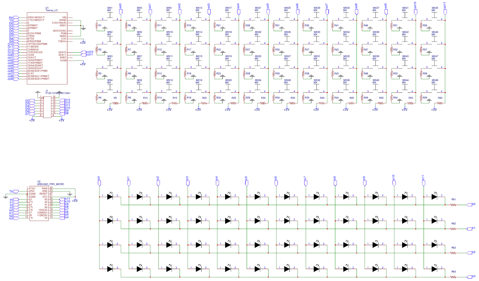 40 Keyboards Analog Matrix Keyboard This Is The Led Resistor Calculator For Leds In Parallel Schematic Shows 12 Channels And Resistors Voltage Dividers A Pro Micro Was Used To Control Same Way