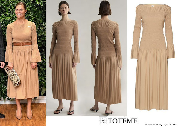 Crown Princess Victoria wore Totême Fanano Pleated Tight Fitted Longsleeve Dress