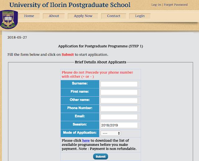 UNILORIN Postgraduate Admission 2018
