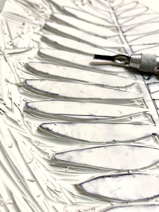 leaf design carved from rubber