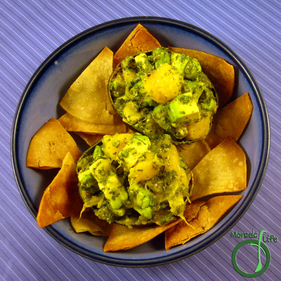 Morsels of Life - Mango Guacamole - Sweet and juicy mango mixed in with avocados, cilantro, and a bit of green onions for a supremely scrumptious mango guacamole.