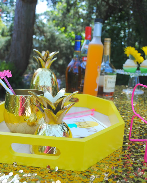 Take mom on a  vacation with an outdoor tropical bar. As seen on FizzyParty.com