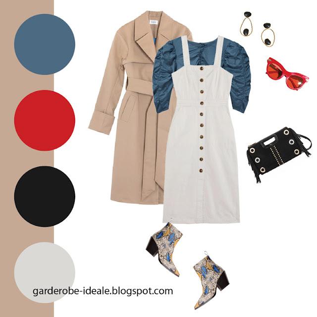 Синяя блузка с пышными рукавами с белым платьем