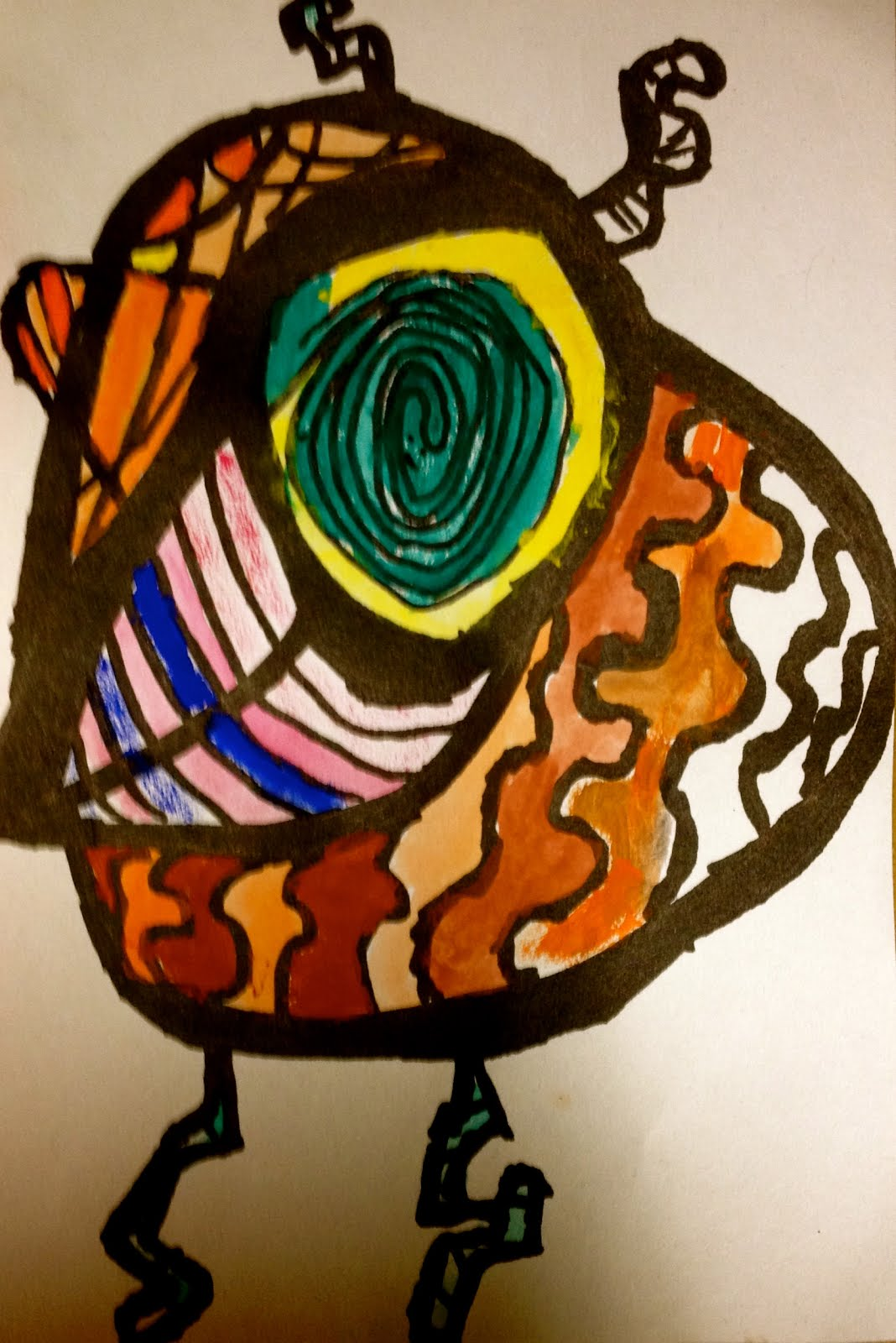 Year 1 Britto Inspired.  Black pen and watercolour