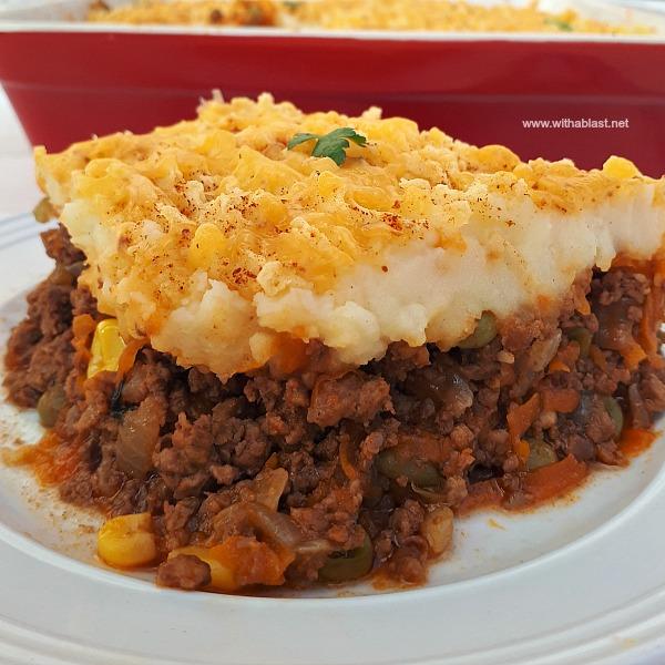 Hearty, vegetable loaded Shepherd's Pie is comfort food !