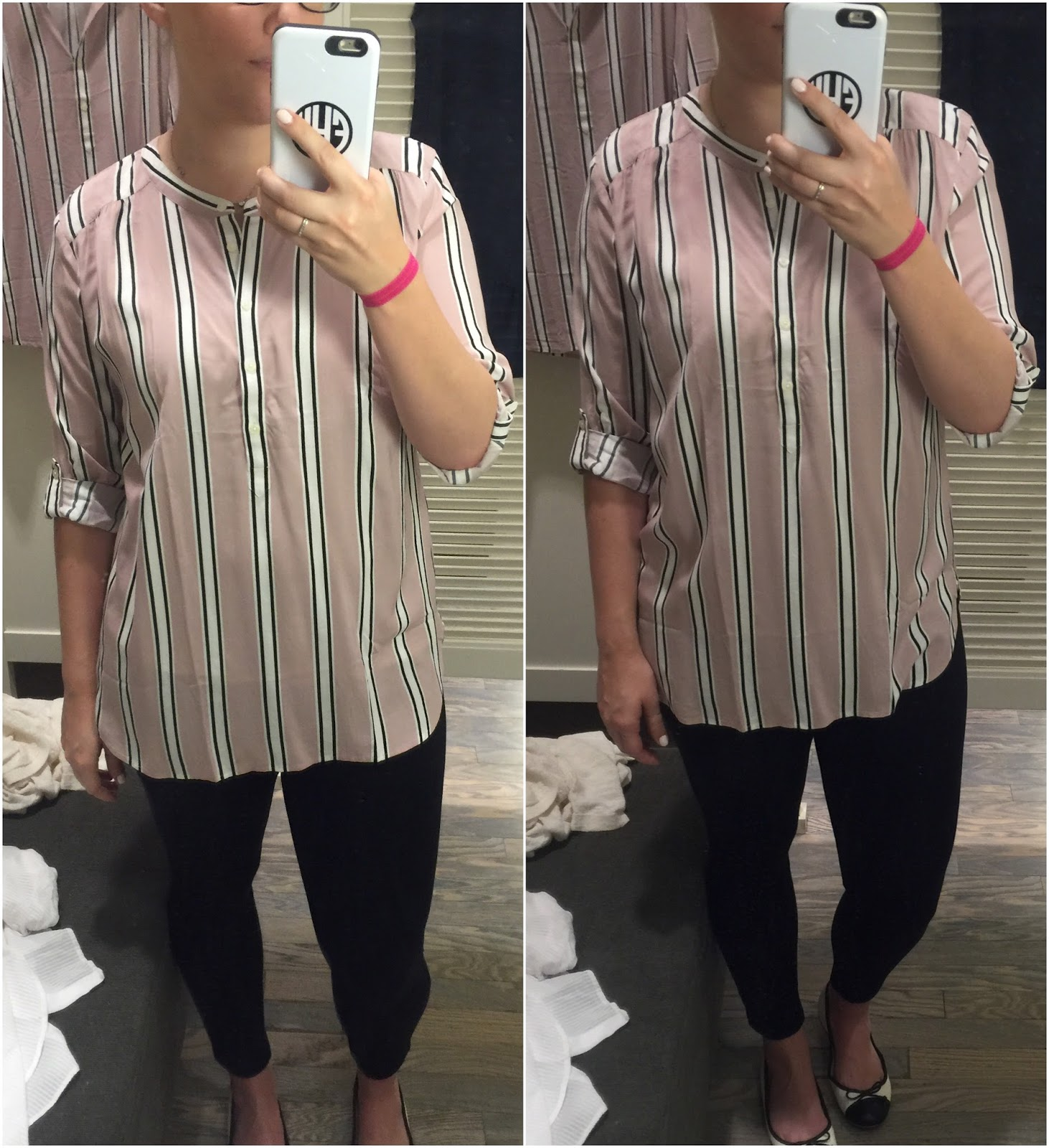 stripe-shirred-utility-blouse