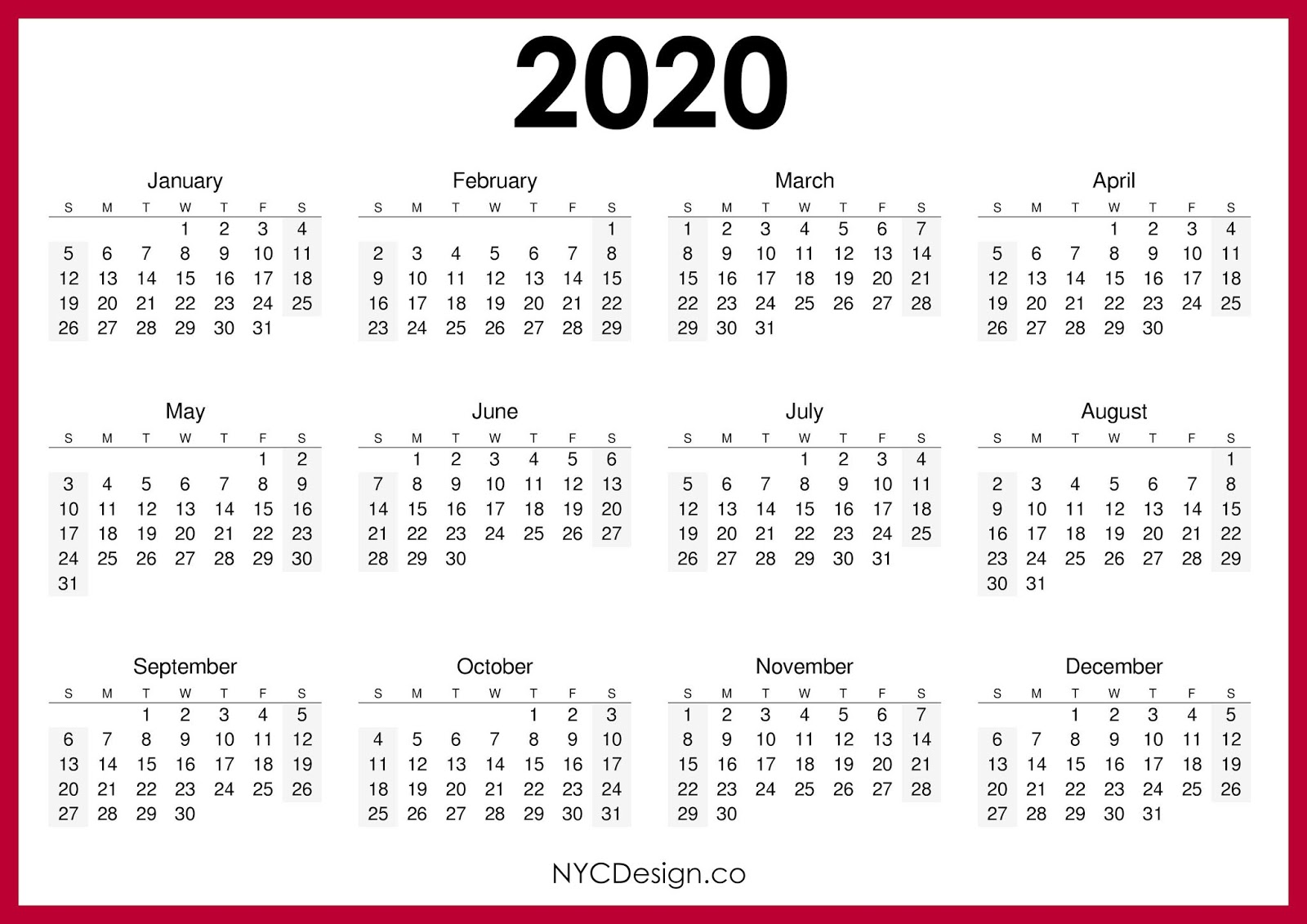 New York Calendar 2020 New York Web Design Studio, New York, NY: 2020 Calendar