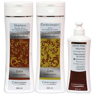 Kit shampoo, condicionador e creme de pentear tratamento capilar com ostra