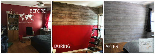 Before, during, and after hanging the wallpaper horizontally for a planked wall look :: OrganizingMadeFun.com