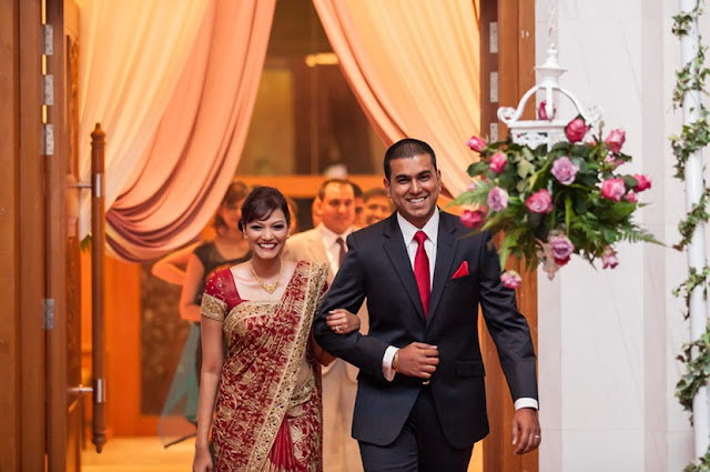 red tie groom wedding reception grand entrance KL